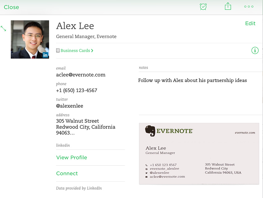Evernote And LinkedIn Launch A New Business Card App For iOS To Organize Your Contacts