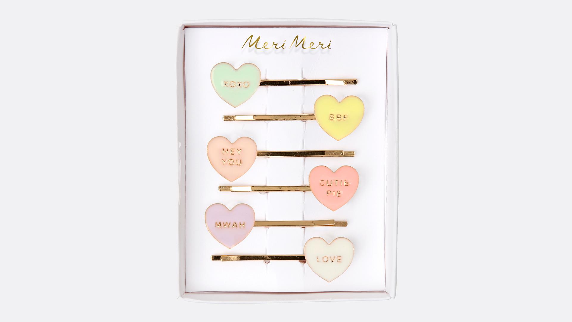 Meri Meri Love Hearts Enamel Hair Slides