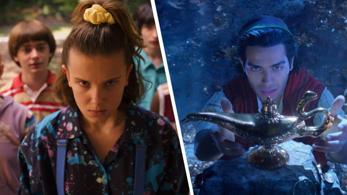 Stranger Things (left) on Netflix and Aladdin (right) on Disney.