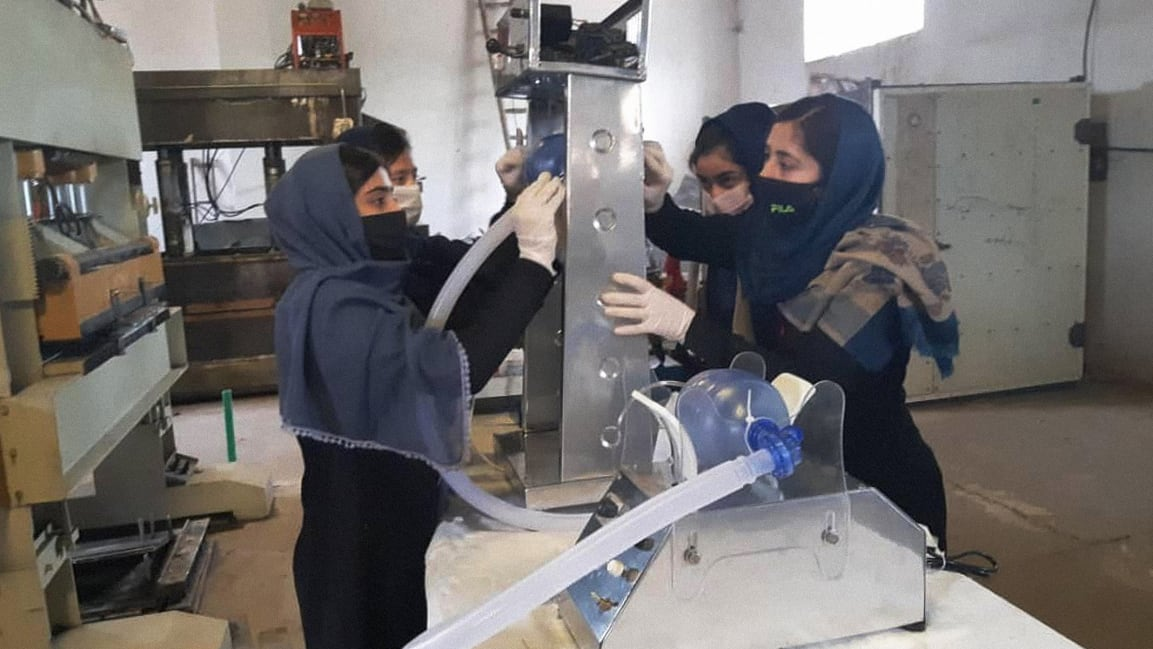 Afghanistan's all-girl robotics team is building emergency ventilators out of car parts