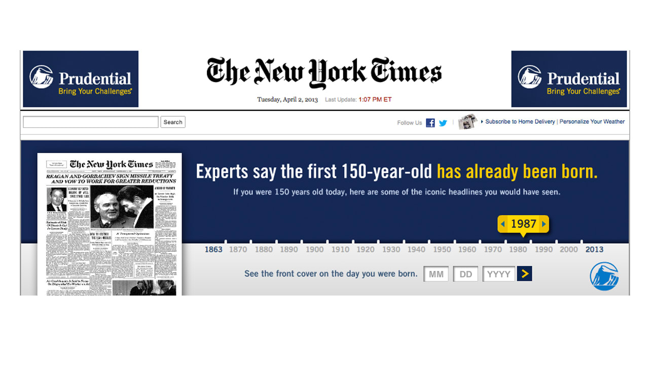 "Interactive ""New York Times"" Ad Reveals Front Page From Your Birth Date"