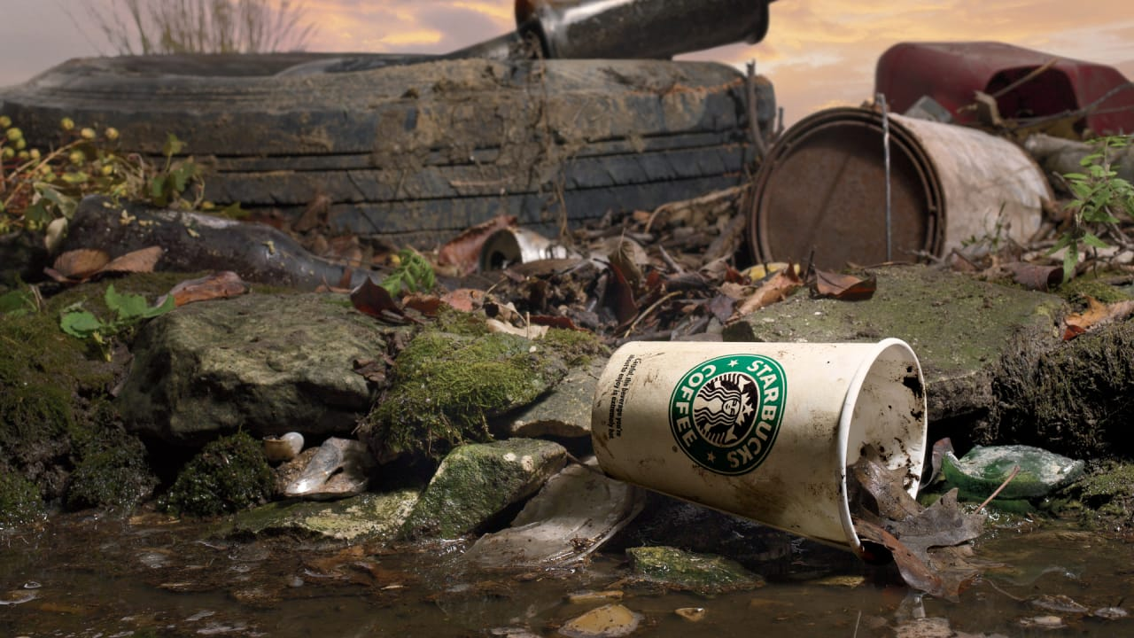 Image result for Starbucks coffee cup trash