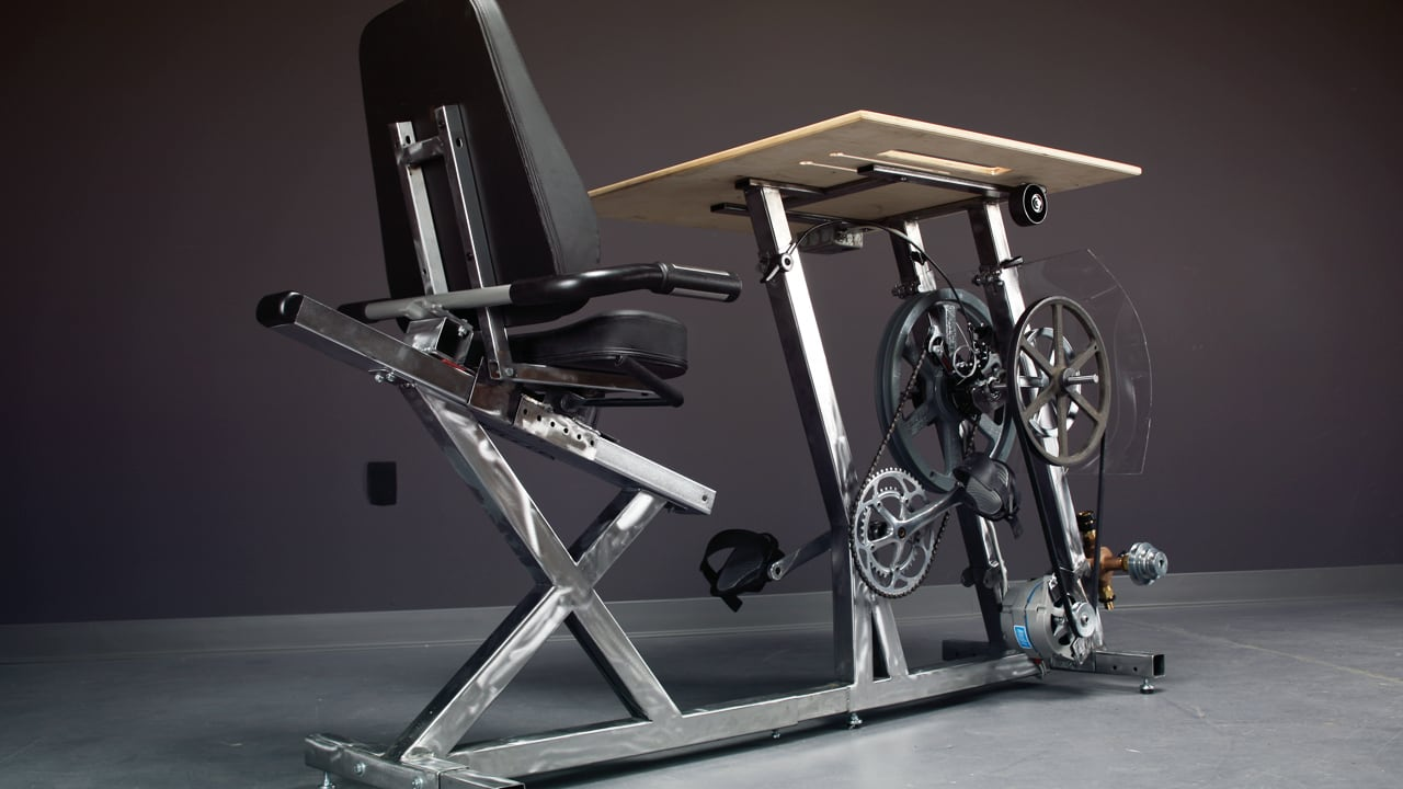 Forget Standing Desks: Here's One You Pedal To Power Your Gadgets