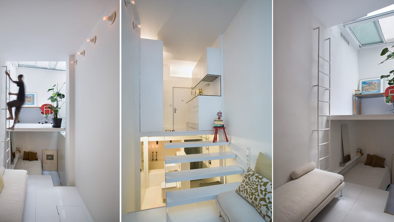 This Tiny Apartment Is So Tall And Skinny, You Need Ladders To Move Around