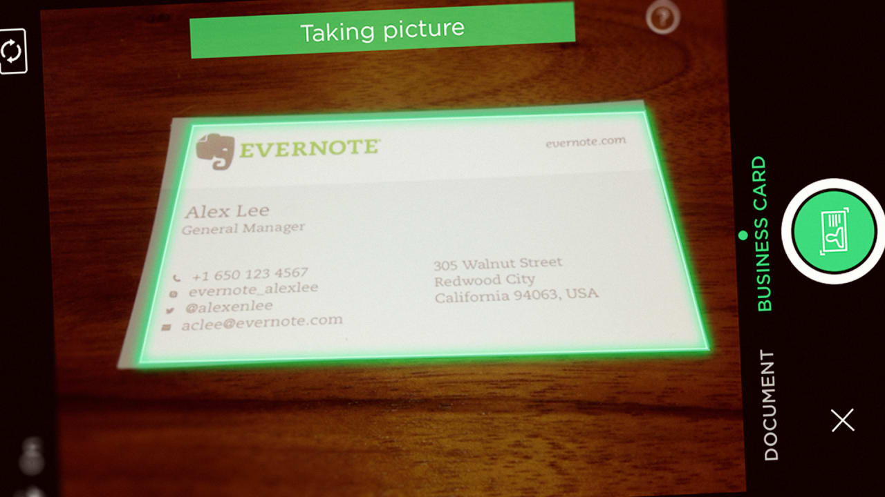 Evernote and linkedin launch a new business card app for ios to organi reheart Images