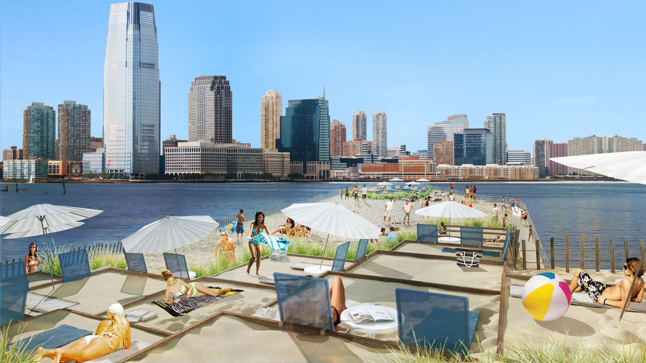 New York's Newest Beach Lets You Lay On The Sand While Floating On The Hudson