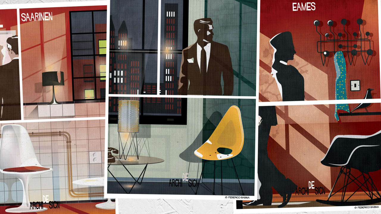Famous furniture designs star in these noir inspired movie posters - Celebrity furniture designers ...