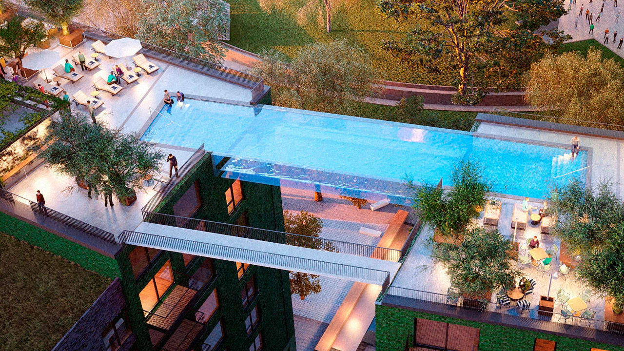 Floating above london this invisible pool lets you swim for Garden pool hire london