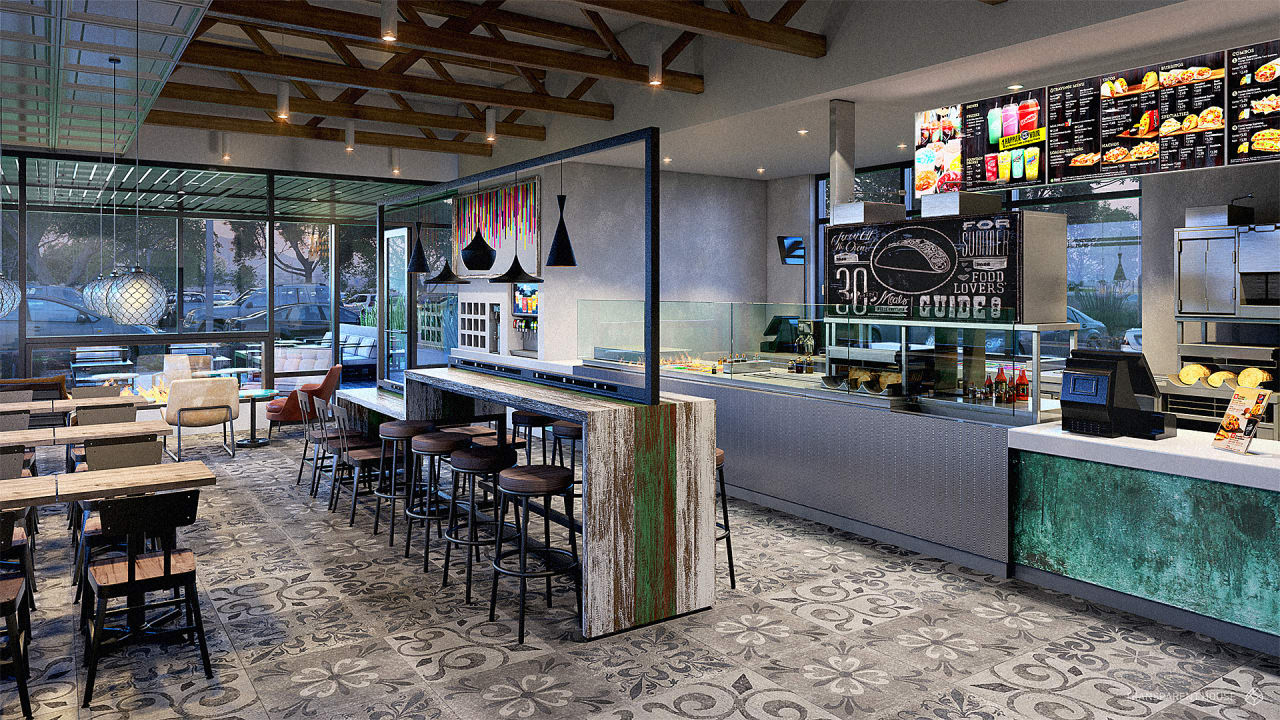 Taco bell s new stores mix barcelona chairs with layer