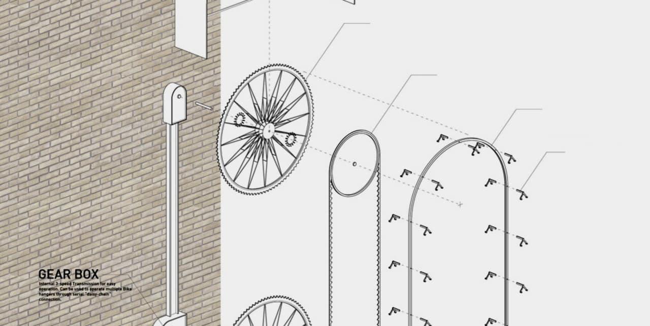 A Bike Rack That Rises in the Sky Like a Ferris Wheel