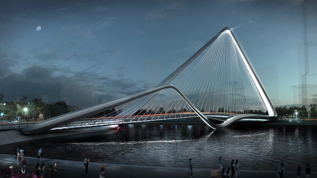 A Suspension Bridge Whose Double Arches Symbolize Prosperity