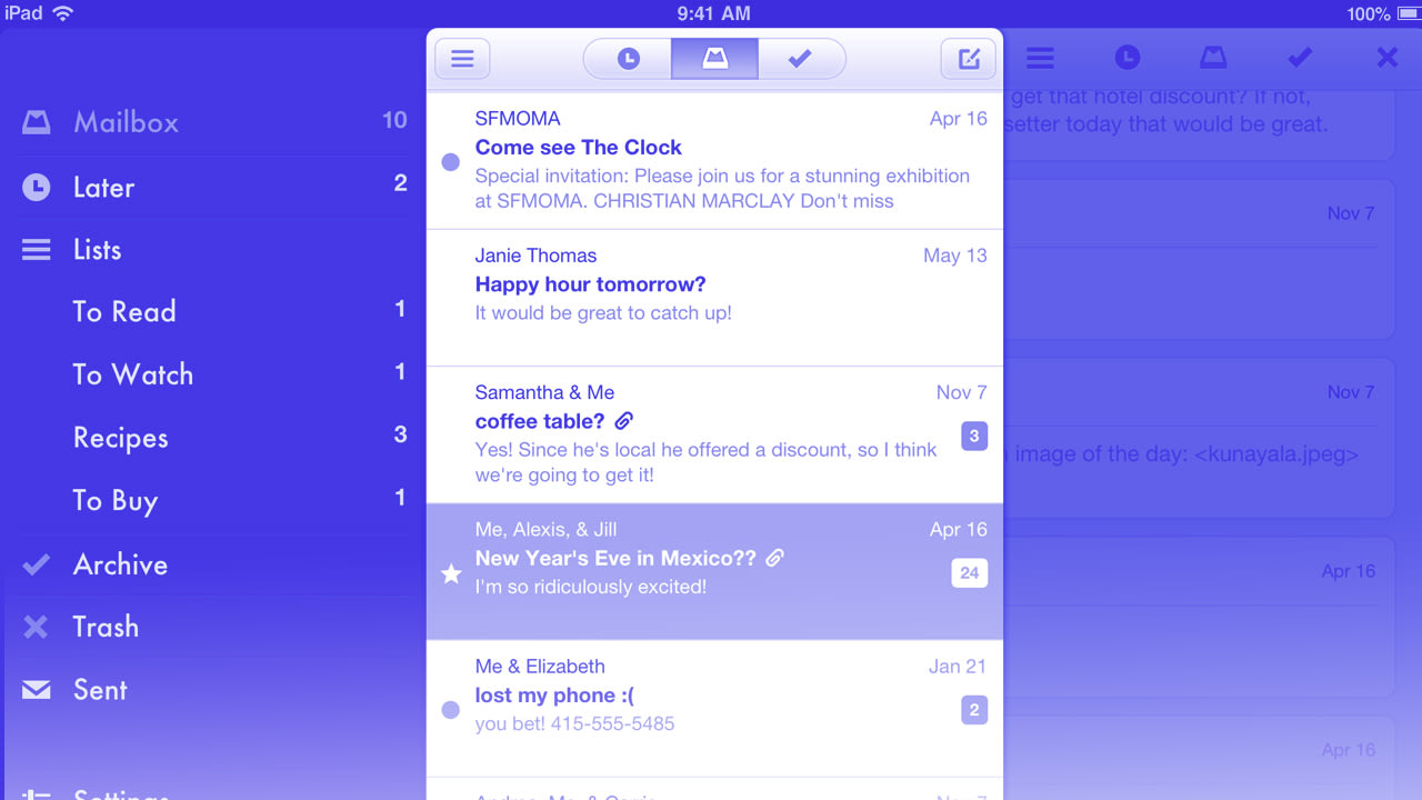 Mailbox, The Innovative, Inbox-Taming Email App, Comes To The iPad