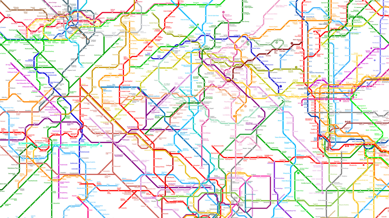 Tokyo Subway Map Poster.214 Subway Systems Combined Into One Worldwide Metro Map