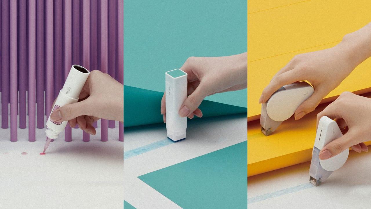 Finally, tape dispensers and glue sticks for design snobs