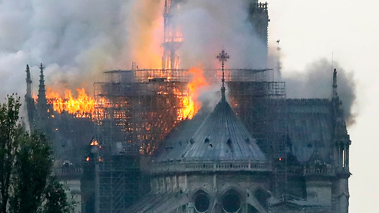 Notre Dame fire: Videos show 850-year-old Paris cathedral ablaze