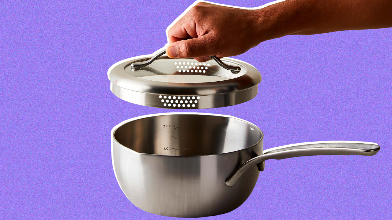 This ingenious saucepan is a pot, measuring cup, and colander all in one