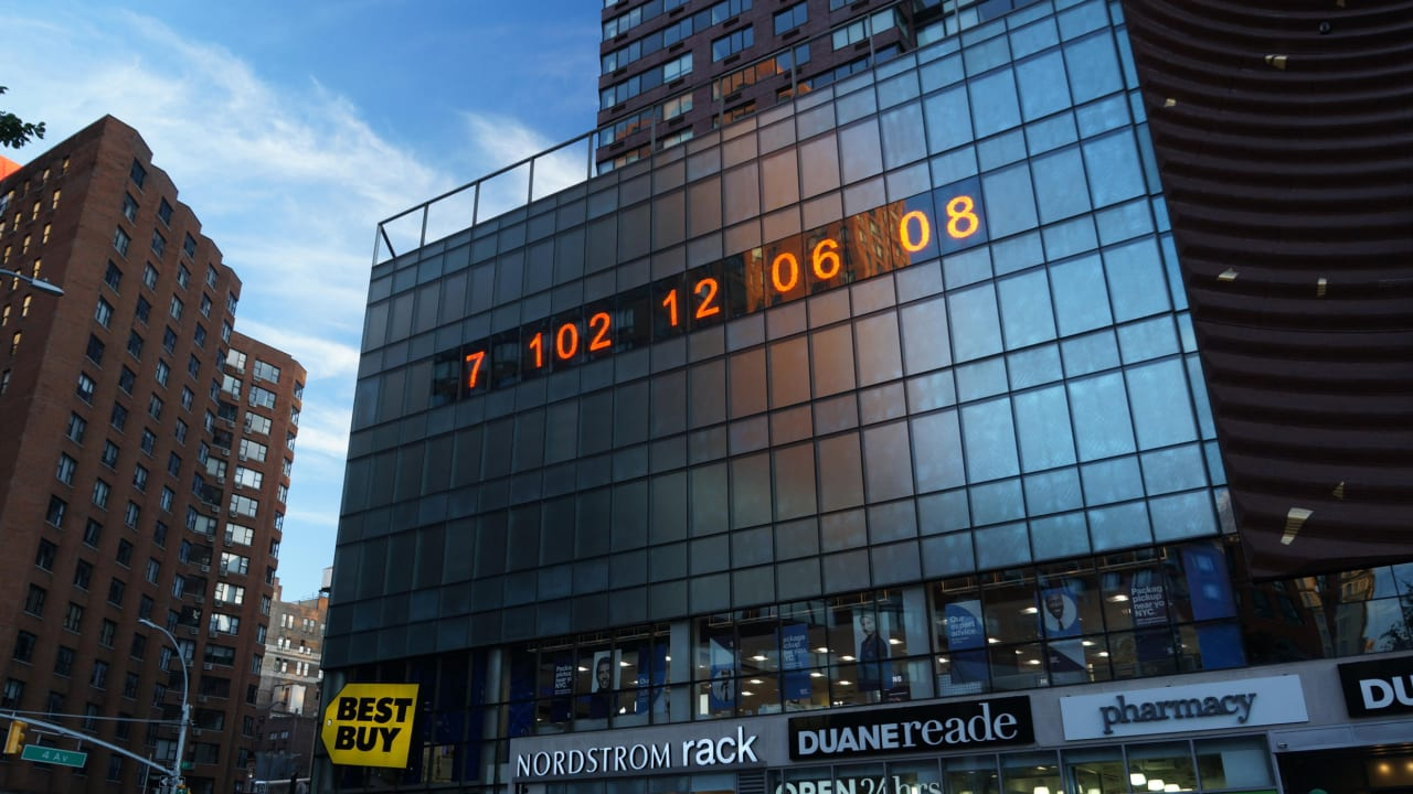 Manhattan's famous digital clock is now counting down to climate disaster