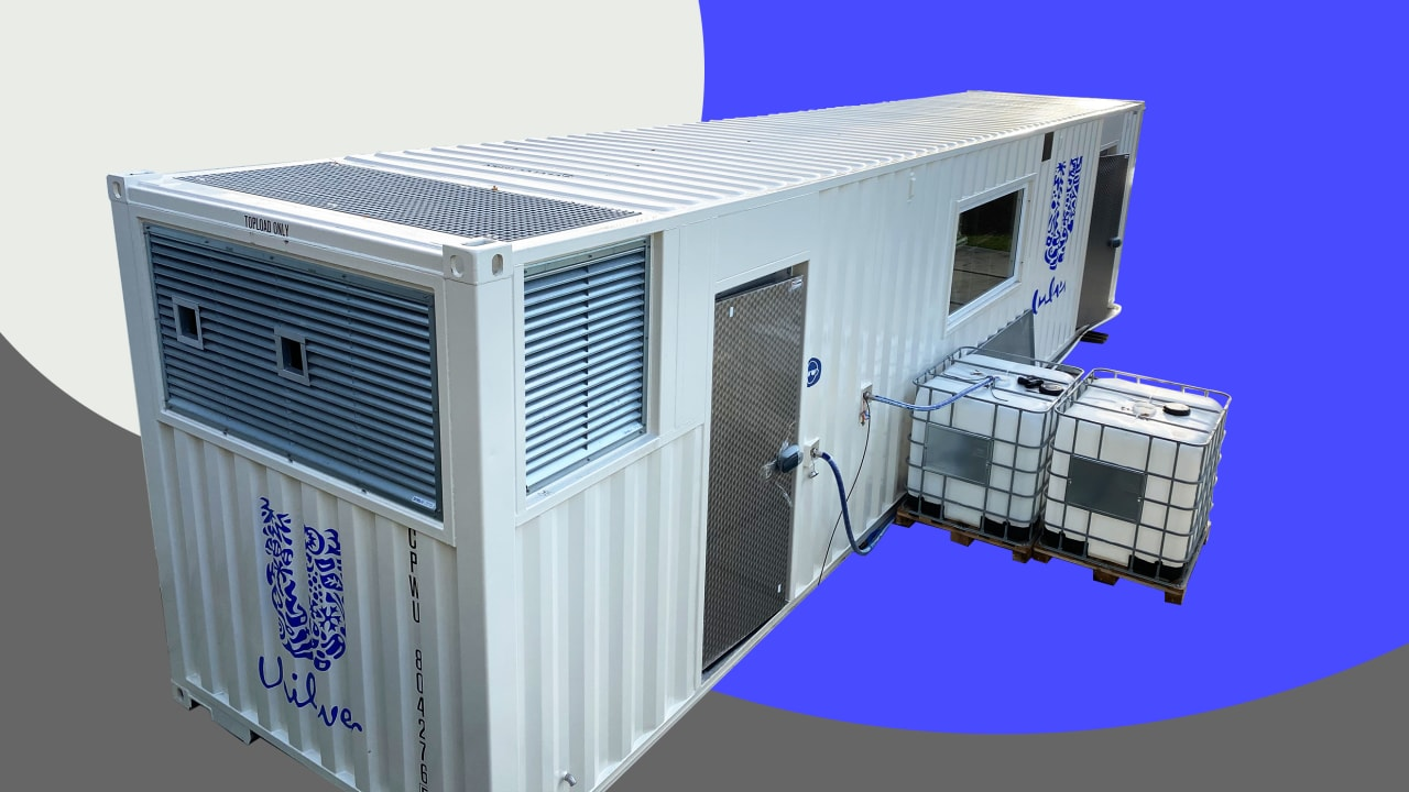 Unilever's new nano-factories fit in a shipping container, so they can go anywhere in the world