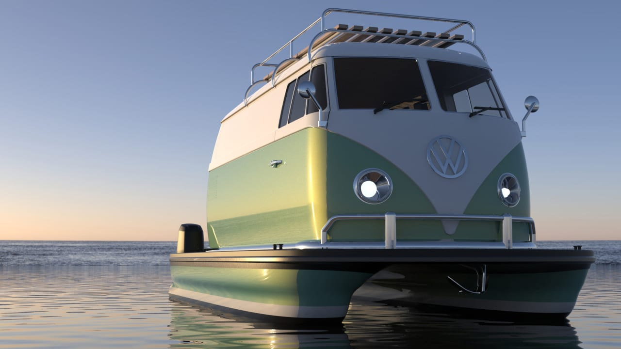 I hate myself for loving this whimsical VW bus pontoon boat