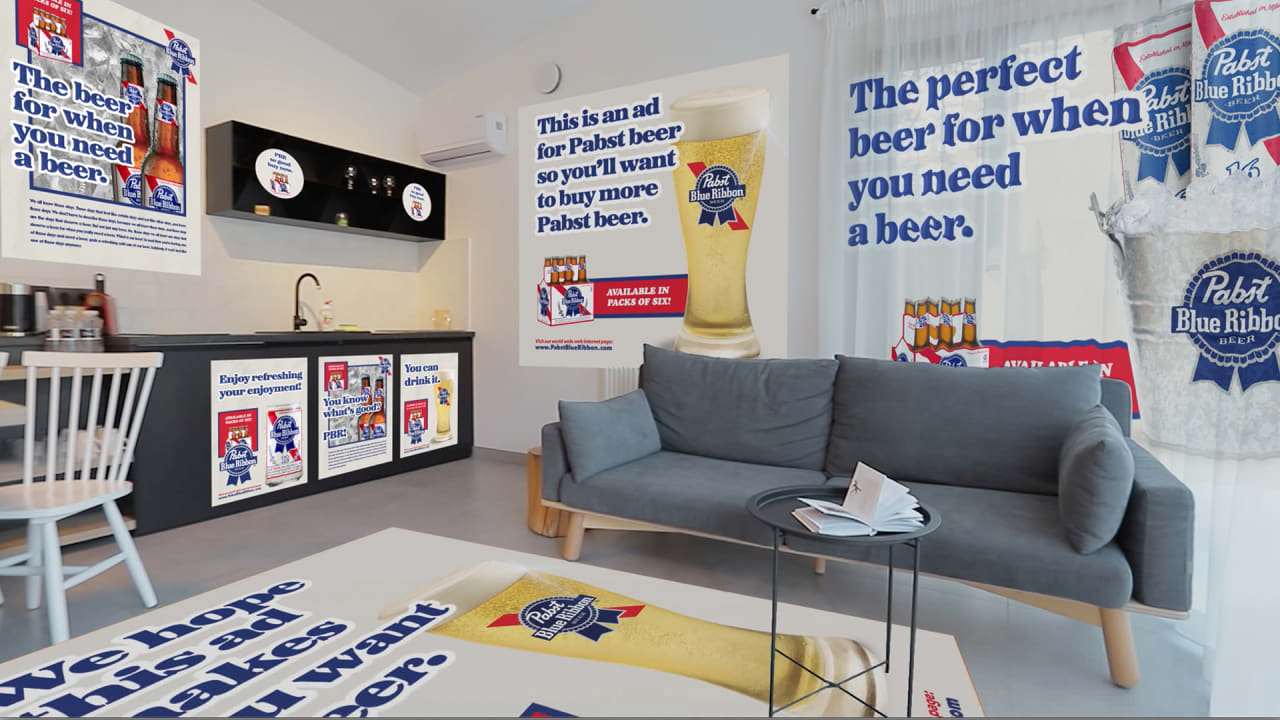 How much would it take for you to turn your shower curtain into a Pabst Blue Ribbon ad?