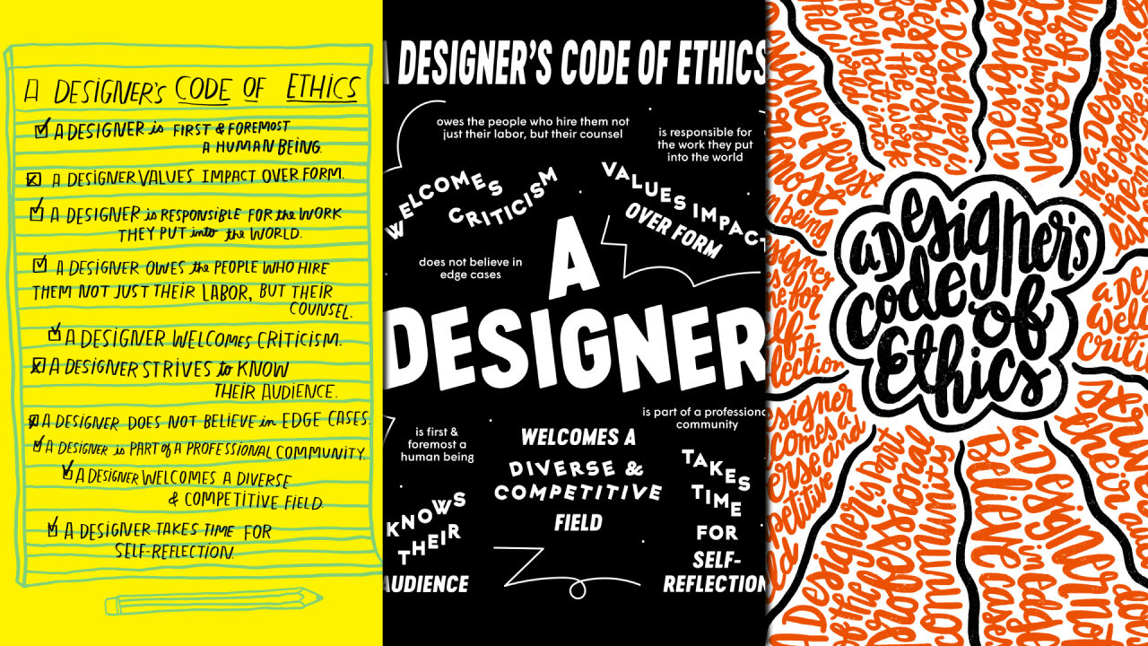 Line Drawing Ethics : Designers draw their code of ethics