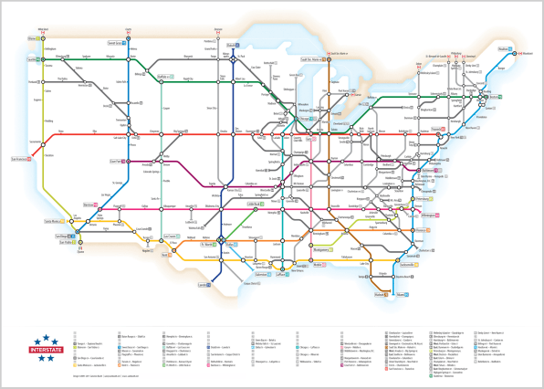 Ingenious Infographic US Highways Mapped Like A Subway System