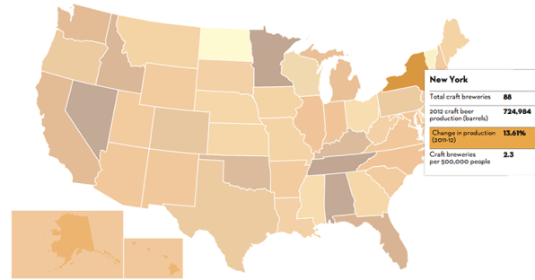 A Glorious Map Of Craft Beer Across The US - Man in the us map