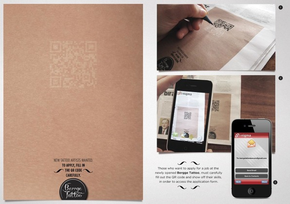 All hail the tattoo shop that found a cool use for qr codes created by istanbul agency bro the ad featured copy notifying readers that berrge tattoo was hiring tattoo artists interested in applying for jobs were sciox Choice Image