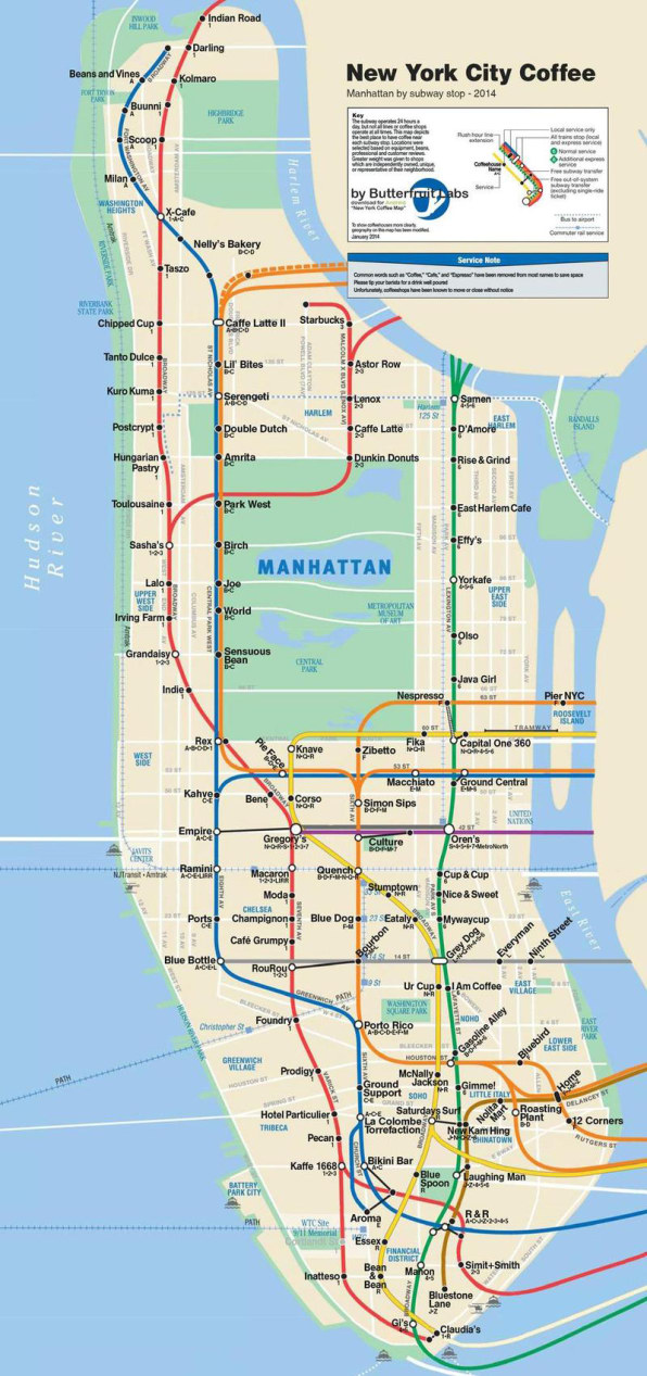 the new york coffee map designed by app company butterfinger labs features local gems from morningside heights hungarian pastry shop to the east