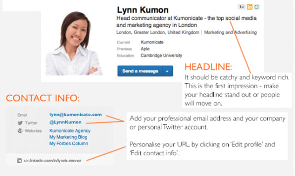 Be sure to also update your contact information and headline. Fast Company  contributor Amber Mac suggests customizing your headline to include  information ...