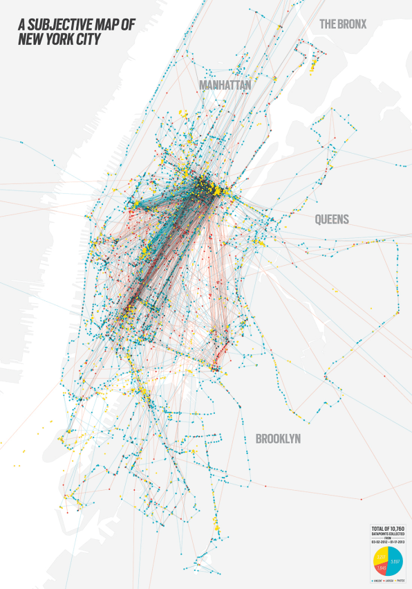 A Map Of New York Drawn Through The Bike Trails Of Lovers - Map of or