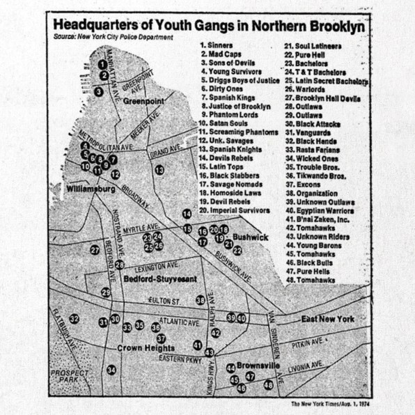 Gangs Of 1970s New York Mapped