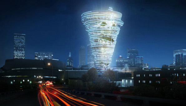 This incredible oklahoma building design looks like a tornado the concept came about after kinslow keith todd were asked to submit plans a reimagining downtown feature in tulsa people magazine malvernweather Choice Image