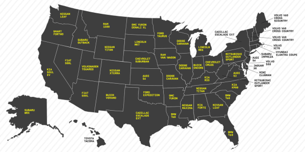 Infographic This US Map Reveals The TopSelling Cars State By Stat - Best selling car in us map
