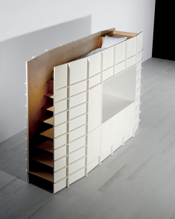 Then there's Block, which looks like a cabinet from one angle but actually  holds up a narrow bed up top. The sleeping space is accessible via a ...