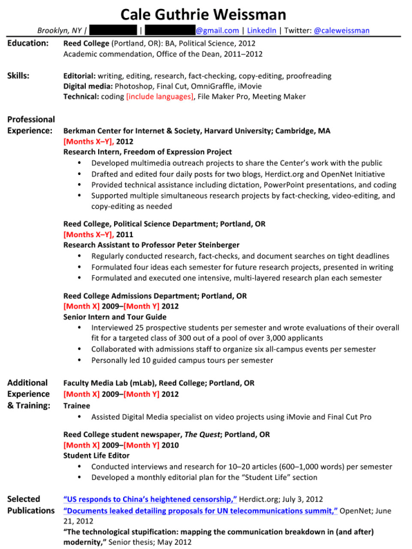 So What Would Weissmanu0027s Entry Level Resume Look Like After Incorporating  This Feedback From All Three Experts? Probably Something Like This:  Political Science Resume