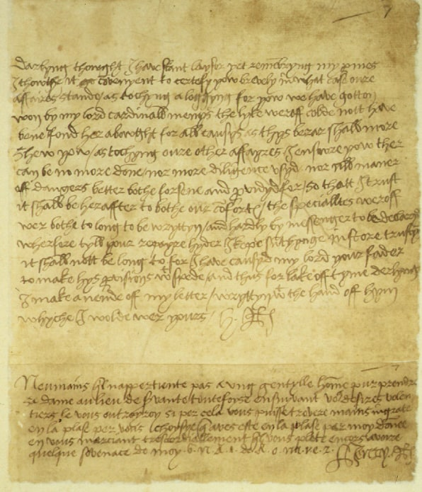 12 hand written love letters from famous people from henry viii to mi darlyng thowght i haue scant laysor yet remembryng my pmes i thowthe it go covenyent to certefy yow brevely in what case oure affaires stande as tochyng a thecheapjerseys Gallery