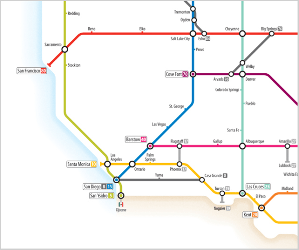 Ingenious Infographic US Highways Mapped Like A Subway System - Interstate map of us