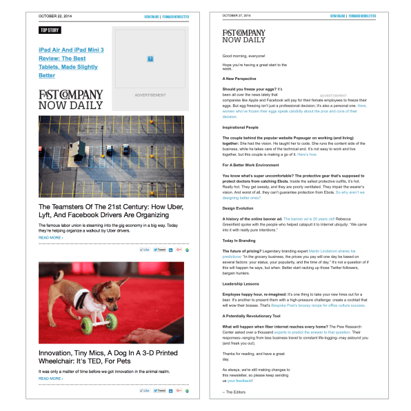 Fast Company Daily Test U201cCu201d (right)u2013an All Text Newsletter Used For Testing  Alternative Newsletter Formats.  News Letter Formats