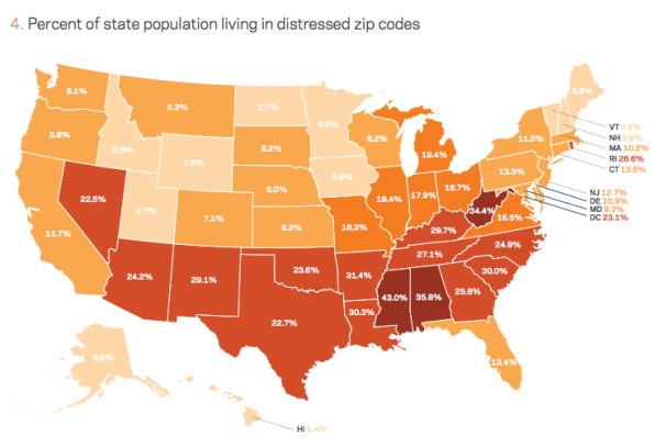 u s map of state populations in distressed zip codes via the economic innovation group
