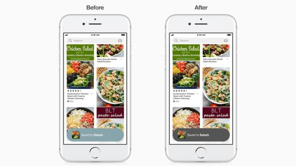 Interfaz de Pinterest en móvil antes y despues.