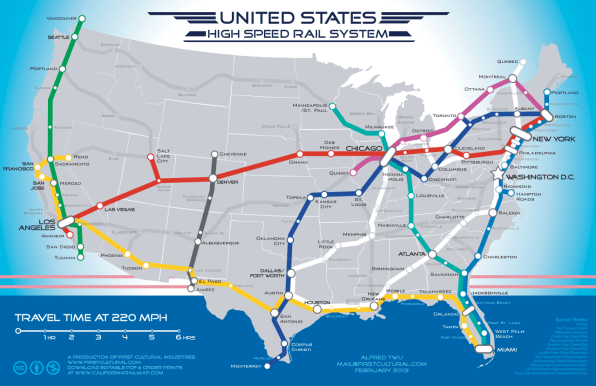 A Beautiful Vision Of An American High-Sd Rail Map on