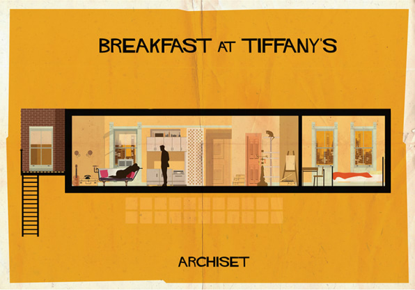 16 Retro Posters Depict The Interiors Of Classic Films