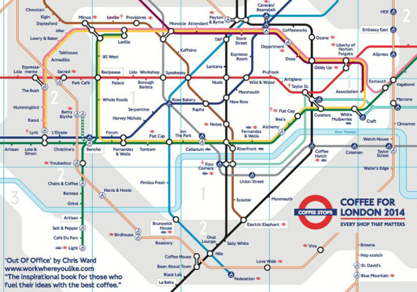 The Map Shop London.Extremely Useful Maps Show Best Coffee Shops By Subway Stops