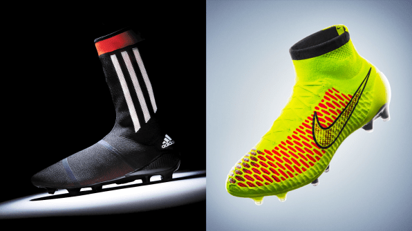 3d4d133453fb Adidas' Primeknit FS (left) and Nike's Magista (right)
