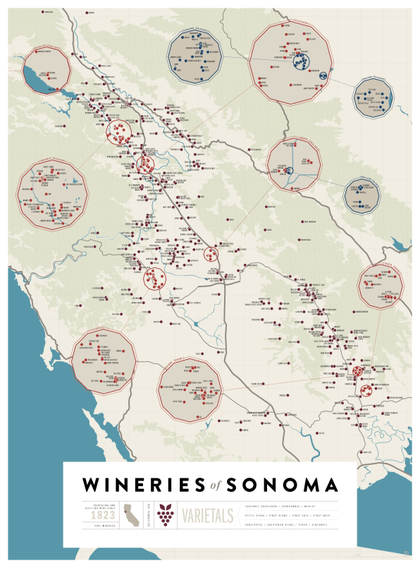 Maps Of Napa And Sonoma, For Design-Minded Wine Snobs