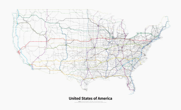 Every Single Highway In The United States In One Simplified Map - Road-map-of-the-us