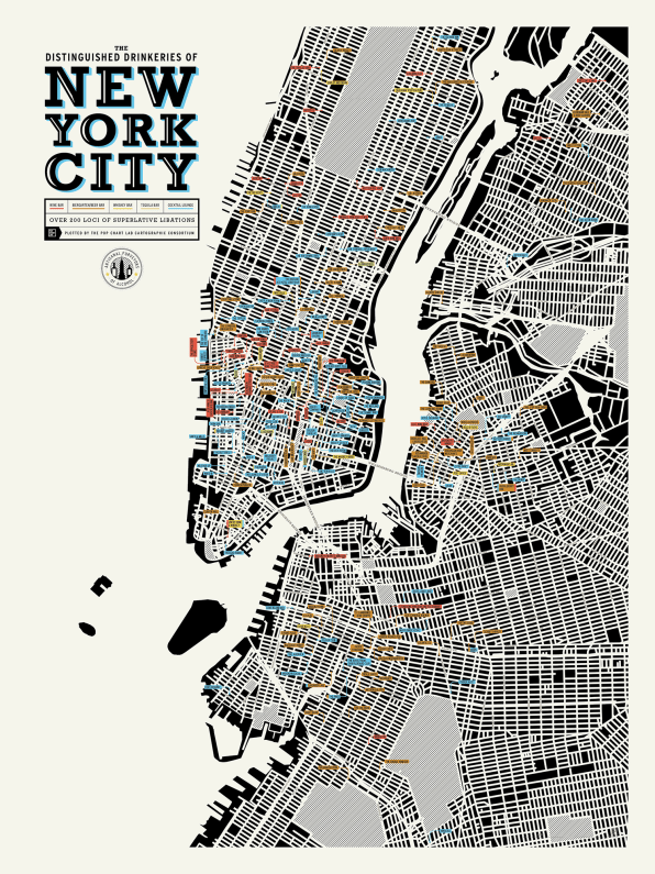 A Map Of Distinguished Places To Get Drunk In NYC