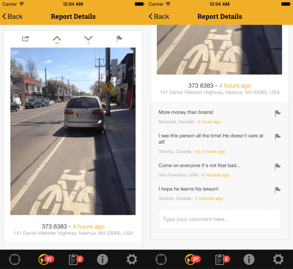 This New App Lets You Report Cars Parked In Bike Lanes So They Can Be