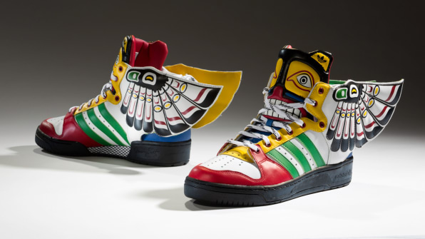 Designer Jeremy Scott drew on west coast Native American traditions to  create this Totem shoe for Adidas. 6b502a748